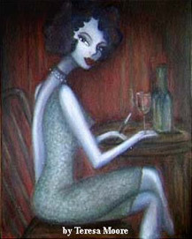 artwork created by Teresa Moore of a lady sitting at a one person table